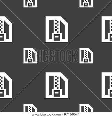 Archive File, Download Compressed, Zip Zipped Icon Sign. Seamless Pattern On A Gray Background. Vect