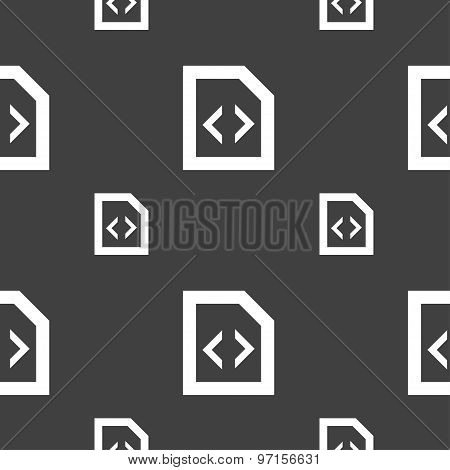 Programming Code Icon Sign. Seamless Pattern On A Gray Background. Vector