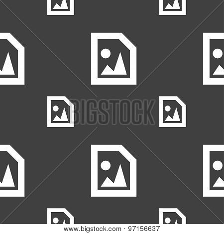 File Jpg Icon Sign. Seamless Pattern On A Gray Background. Vector