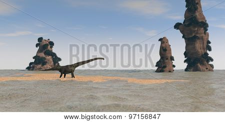 mamenchisaurus walking on shore with cliffs