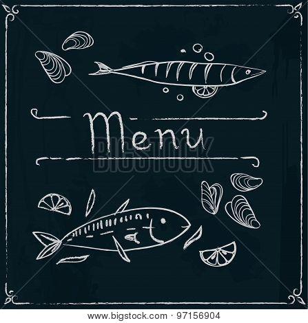 Hand drawn seafood on blackboard.