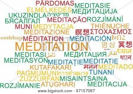 Background concept wordcloud multilanguage international many language illustration of meditation