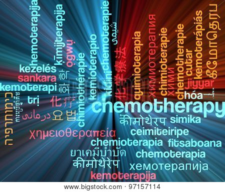 Background concept wordcloud multilanguage international many language illustration of chemotherapy glowing light