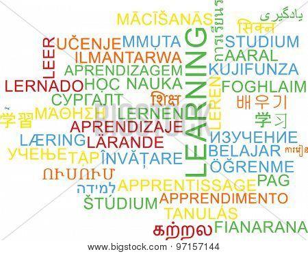 Background concept wordcloud multilanguage international many language illustration of learning