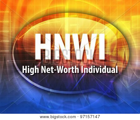word speech bubble illustration of business acronym term HNWI High Net-Worth Individual