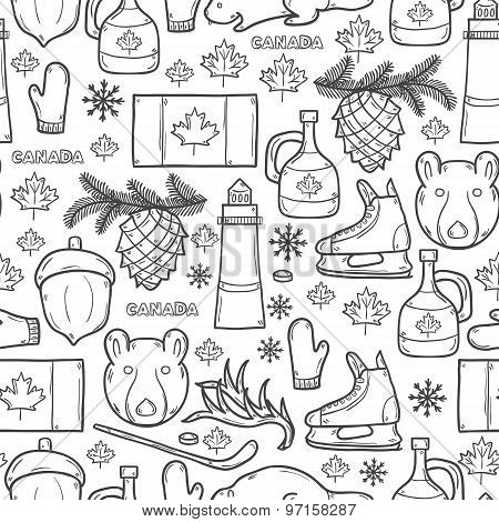 Seamless background with cartoon hand drawn objects on Canada theme: maple syrup, hockey stick, puck