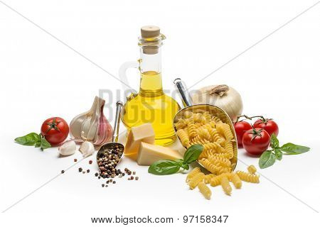 Italian food and pasta ingredients isolated on white background