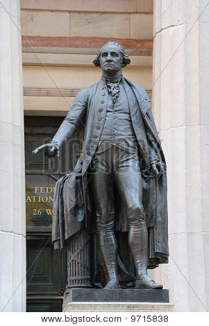 George Washington Statue At Federal Hall In New York City
