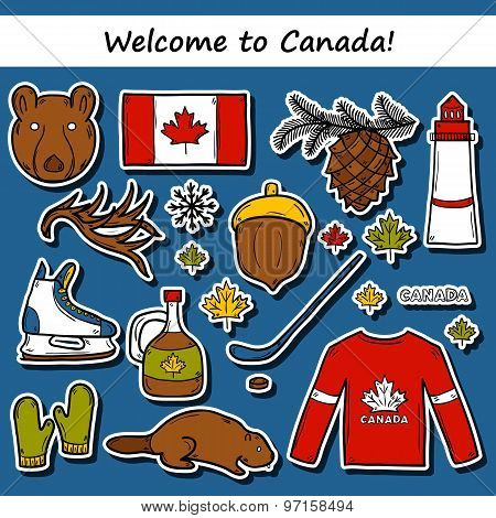 Set of cartoon hand drawn stickers on Canada theme: maple syrup, hockey stick, puck, bear, horn, fla