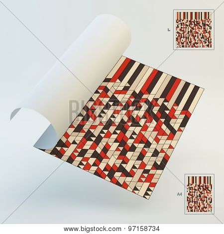 A4 Business Blank. Abstract Red, Tan, Black Geometric Maze Background. Mosaic. Vector Illustration. Can Be Used For Advertising, Marketing, Presentation.