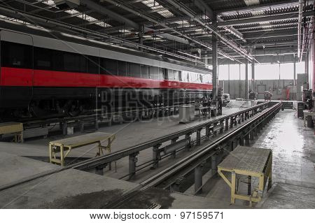Business Rail Wagon In A Workshop Major Repair.