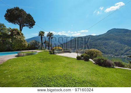green garden of a villa, outside