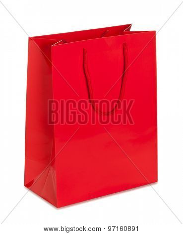 Vibrant red blank paper shopping bag on white background isolated with clipping path