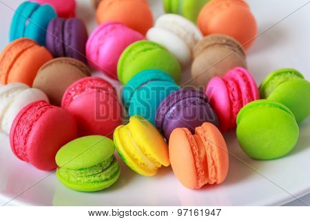 Blurred Colorful Macarons Dessert With Vintage Pastel Tones Made Dept Of Field.