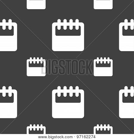Notepad, Calendar Icon Sign. Seamless Pattern On A Gray Background. Vector