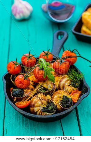 Baked escargot in butter with herbs and tomatoes