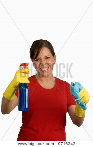 Woman With Cleaning Products