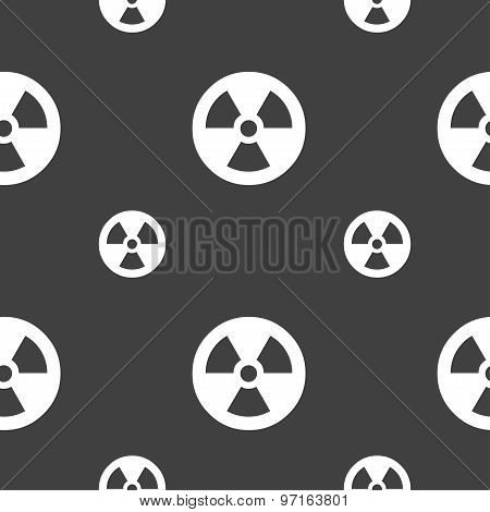 Radiation Icon Sign. Seamless Pattern On A Gray Background. Vector