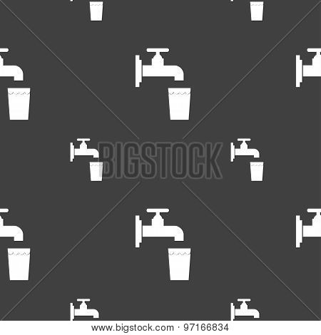 Faucet, Glass, Water Icon Sign. Seamless Pattern On A Gray Background. Vector