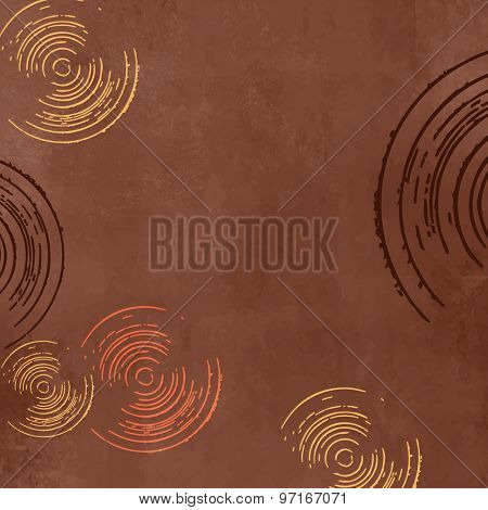 Dark brown background in retro style with circles