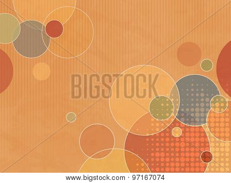 Abstract orange background with colorful circles and dots in soft retro colors