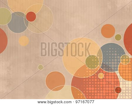 Circle background with colorful dots in soft retro style