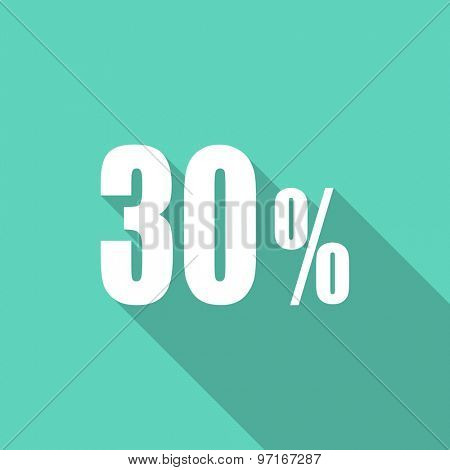 30 percent flat design modern icon with long shadow for web and mobile app