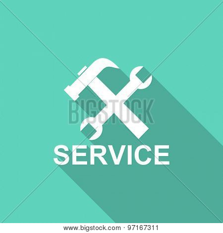 service flat design modern icon with long shadow for web and mobile app