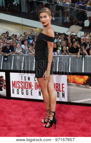 NEW YORK-JUL 27: Model Hailey Baldwin attends the US Premiere of 'Mission: Impossible - Rogue Nation' in Times Square on July 27, 2015 in New York City.