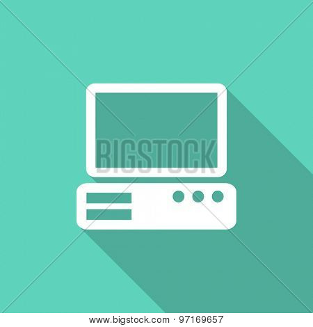 computer flat design modern icon with long shadow for web and mobile app