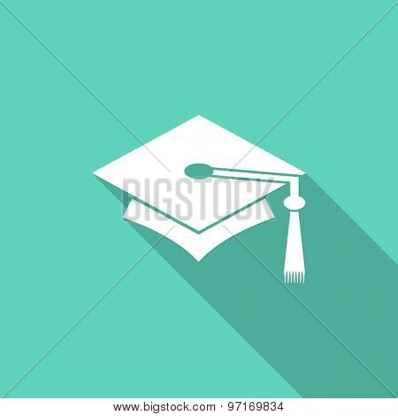 education flat design modern icon with long shadow for web and mobile app
