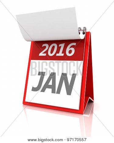 January of 2016 calendar, 3d render
