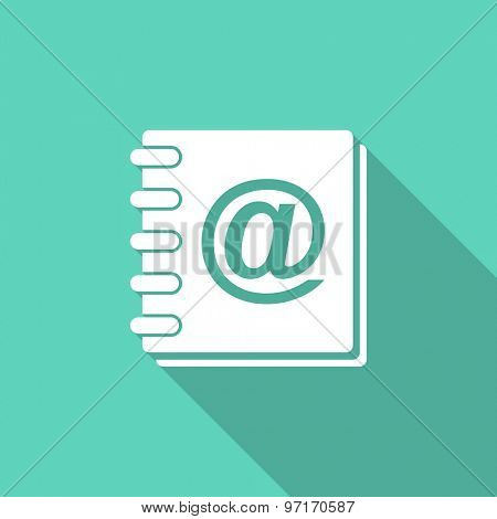 address book flat design modern icon with long shadow for web and mobile app