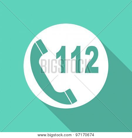 emergency call flat design modern icon with long shadow for web and mobile app