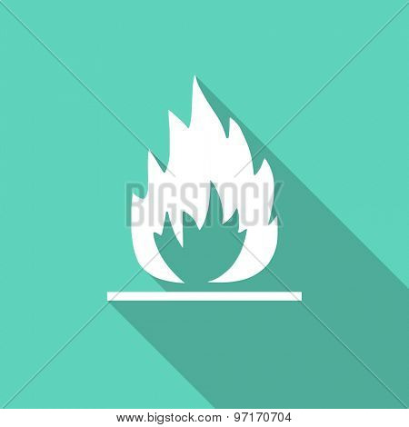 flame flat design modern icon with long shadow for web and mobile app