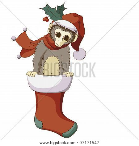 Little Monkey Popping Out From Christmas Stocking