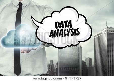 Data analysis text on cloud computing theme with businessman