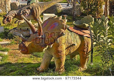 Ashgabat, Turkmenistan - December 23, 2014.  Realistic Model Of  Dinosaur In The Central Park.