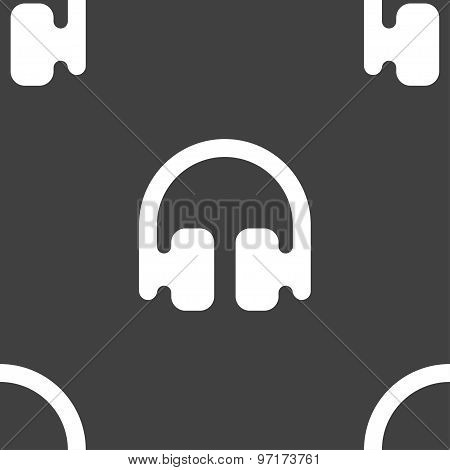 Headphones, Earphones Icon Sign. Seamless Pattern On A Gray Background. Vector