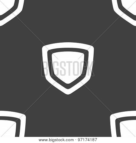 Shield Icon Sign. Seamless Pattern On A Gray Background. Vector