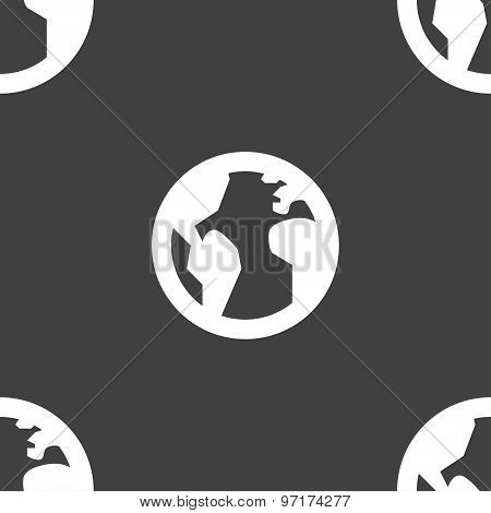 Globe, World Map Geography Icon Sign. Seamless Pattern On A Gray Background. Vector