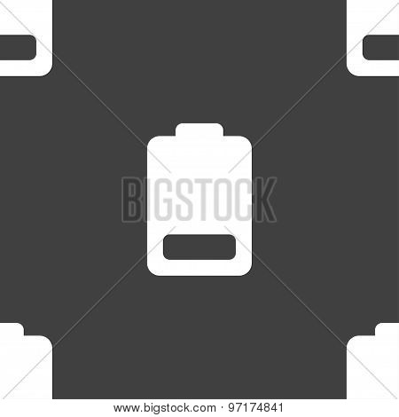 Battery Low Level, Electricity Icon Sign. Seamless Pattern On A Gray Background. Vector