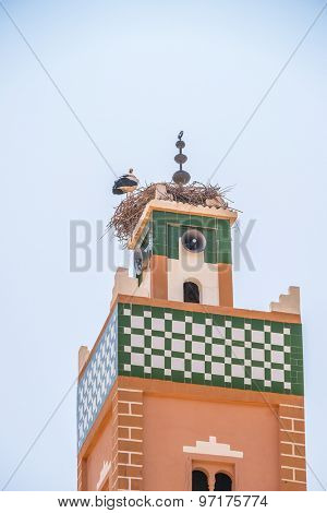 Morocco - stork on nest on minaret in Ait Benhaddou