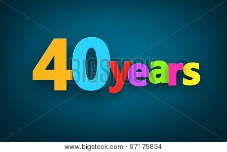 Forty years paper colorful sign over dark blue. Vector illustration.