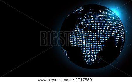 Dotted world globe. Vector technology illustration.