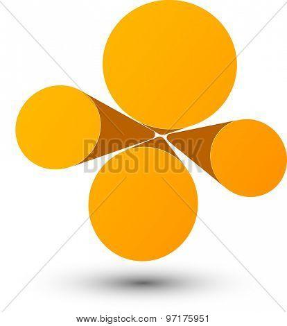 Bubble orange infographics perspective design. Vector illustration.
