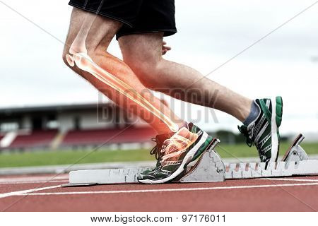 Digital composite of Highlighted knee of man about to race