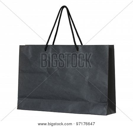 Black Paper Bag Isolated On White With Clipping Path