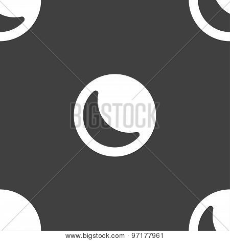 Moon Icon Sign. Seamless Pattern On A Gray Background. Vector