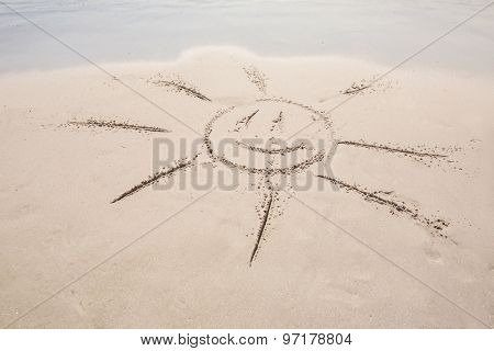 drawing of a sun in the sand at the beach
